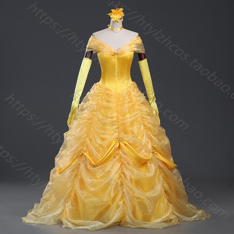Cartoon Cosplay Women Halloween Princess Costume beauty and the beast Belle Dress Adult Princess Belle Costume free petticoat