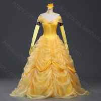 Cartoon Cosplay Women Halloween Princess Costume beauty and the beast Belle Dress Adult Princess Belle Costume free petticoat