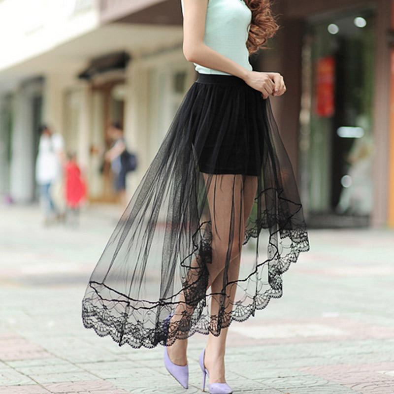 Newly Sexy Women Netting Yarn Dovetail Skirt Elegant Lace Long Tulle Skirts Jupe High Waist Skirts