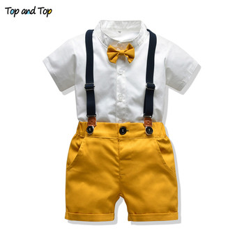 Top and Top Baby Boy Clothing Sets Infants Newborn Boy Clothes Shorts Sleeve Tops+Overalls 2PCS Outfits Summer Bebes Clothing 1