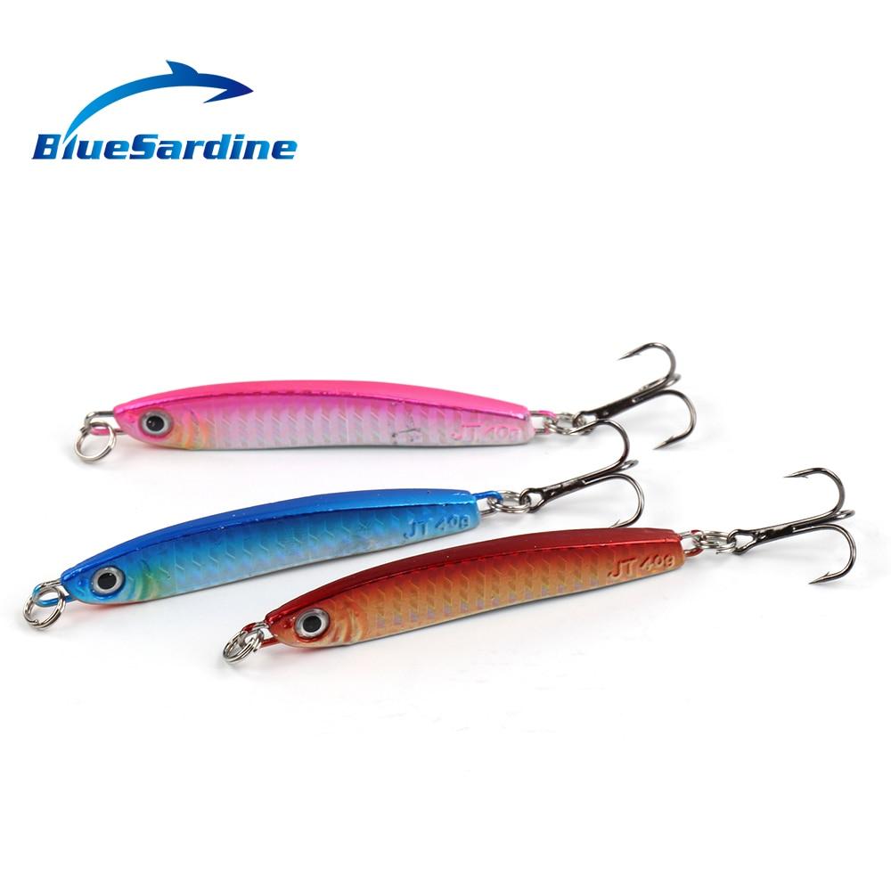 BlueSardine 40G 9.5CM Jigging Lures Metal Fishing Lures Paillette Knife Wobbler Artificial Hard Bait Jig Fishing 3PCS