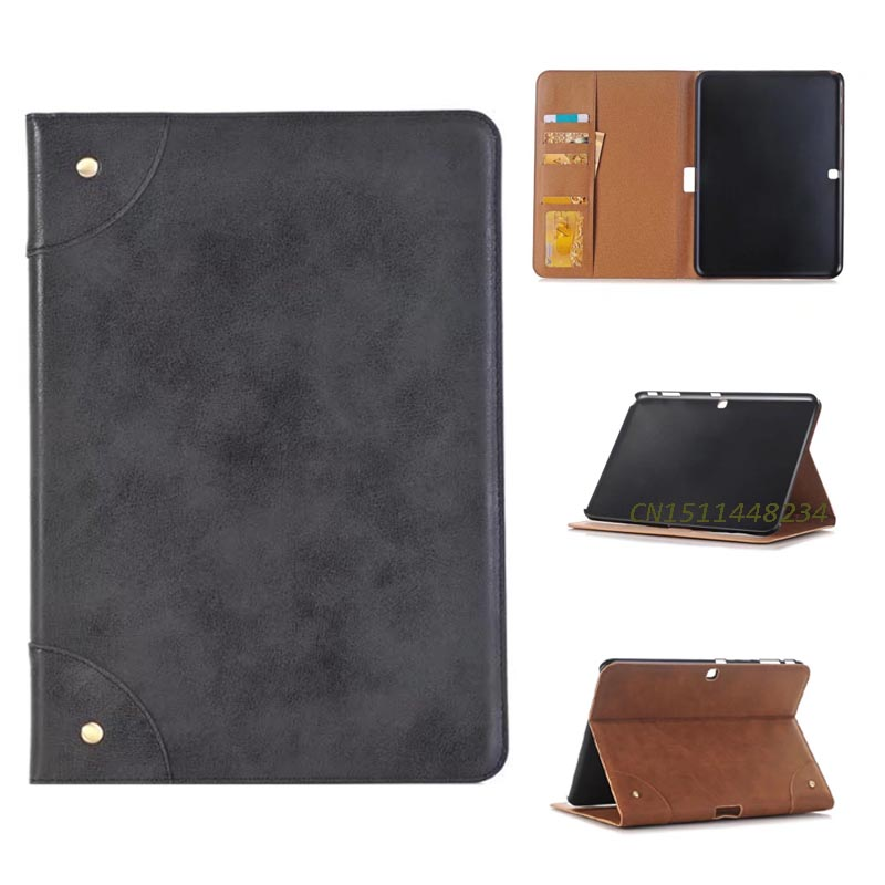 For Samsung Tab4 10.1 Tablet Case, Folio Retro PU Leather Stand Book Cover for Samsung Galaxy tab 4 10.1 SM-T530 T531 T535 +pen pu leather tablet case cover for samsung galaxy tab 4 10 1 sm t531 t530 t531 t535 luxury stand case protective shell 10 1 inch