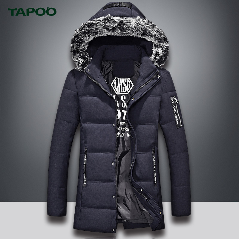 TAPOO Warm Mens Parkas Jacket Windproof Casual Outerwear Warm Winnter Coat Men Overcoat Outerwear With Larger Size 4XL