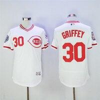 MLB Men S Cincinnati Reds Ken Griffey Jr Jersey Majestic Scarlet White Gray Flex Cool Base