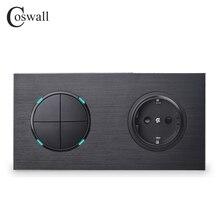 Coswall Panel de Metal de aluminio negro 16A toma de corriente de pared estándar de la UE + 4 entradas, interruptor de luz de encendido/apagado de 1 vía, indicador LED