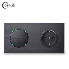 Coswall prise électrique murale 16a, panneau métallique noir en aluminium, normes ue + 4 poignées, interrupteur marche/arrêt, indicateur LED
