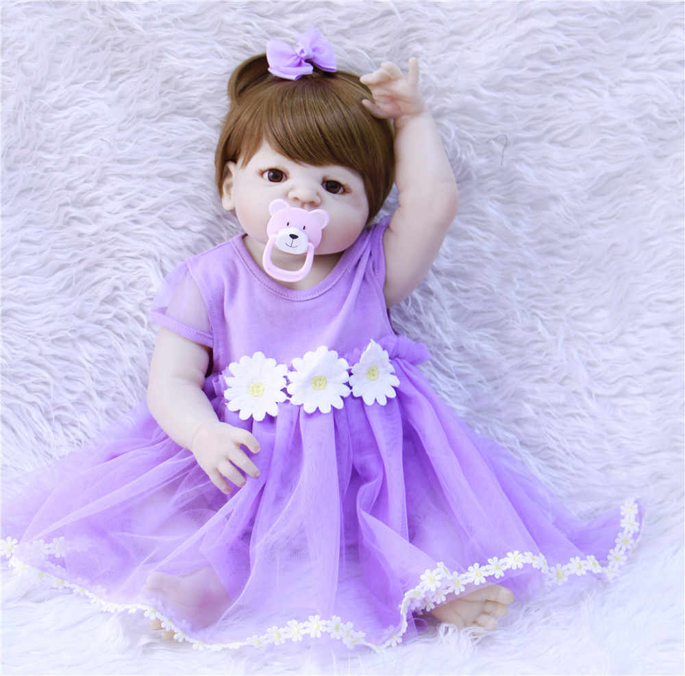 23inch Full Body Silicone Reborn Babies Doll Purple Dress Girl Newborn Toddler Lovely Birthday