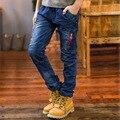 Высокое качество, модные дети джинсы брюки для мальчиков-подростков мальчики дети джинсы эластичный пояс на молнии карманы детской одежды