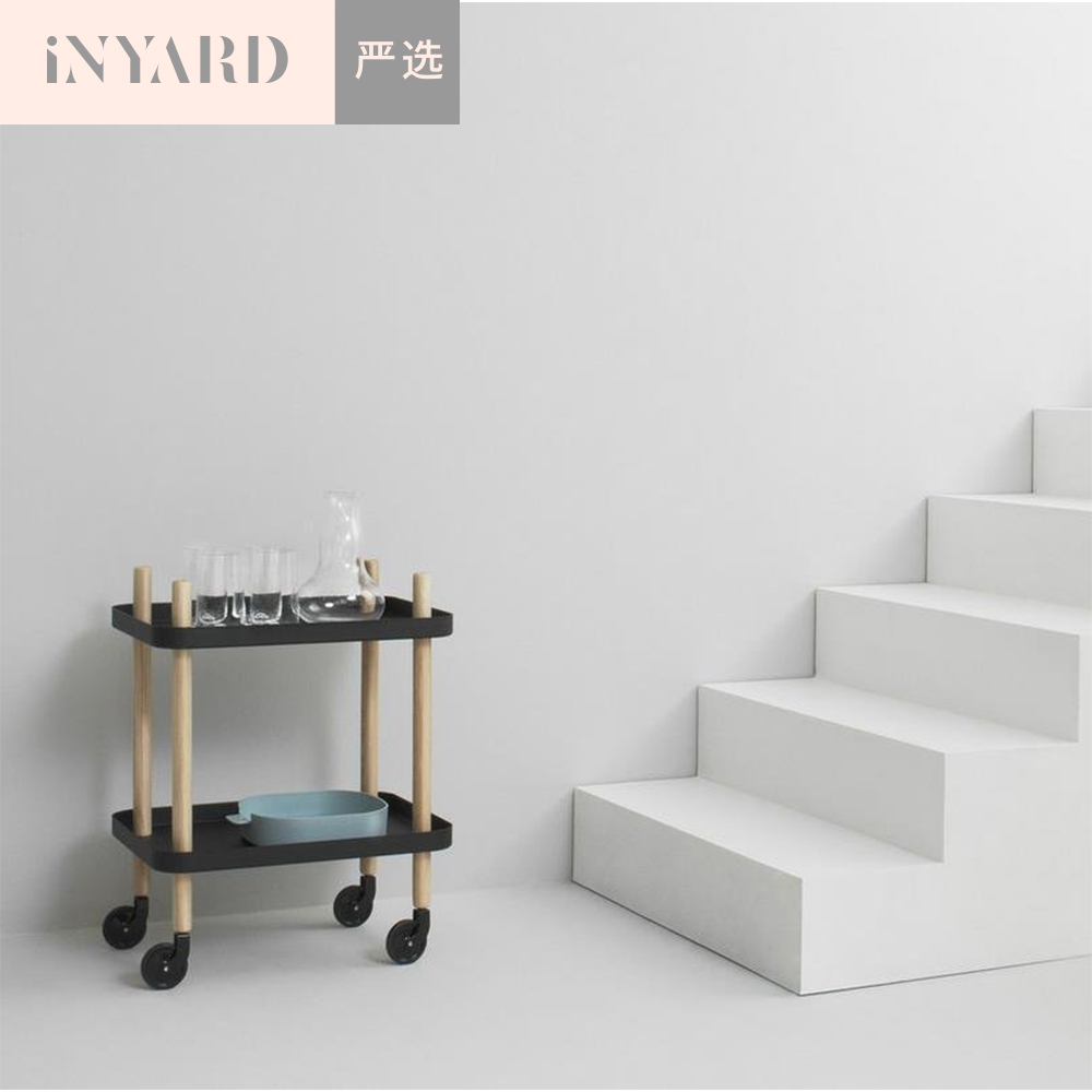 [InYard selected]Nordic simple solid wood metal moving food side counter, double deck, table, receiving, finishing cabinet