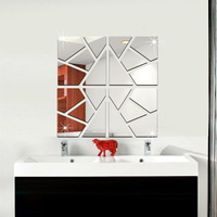 4 Squares Set 3D Modern Mirror Acrylic Wall Stickers DIY Removable Mirror Like Home Art Corridor