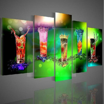 Abstract decorative wall pictures modern hand painted oil painting on canvas colorful glass wall art for living room bar decor
