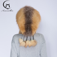 NEWOWLB Fashion Red Fox Fur Hat Young Lady Warm Luxury Tassels Design Hat Winter Natural Fox Fur Hats With Shawl Protect Skin