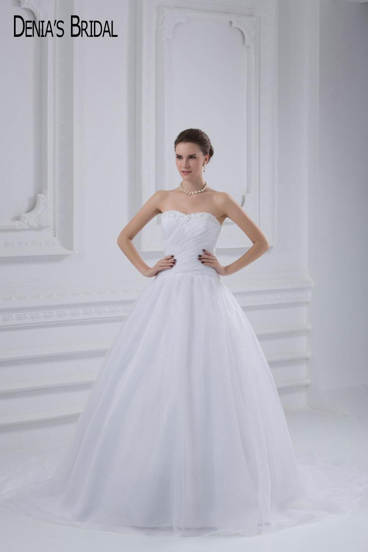 2017 бальное платье Свадебные платья с бисером аппликации Милая декольте развертки поезд этаж Длина свадебные платья