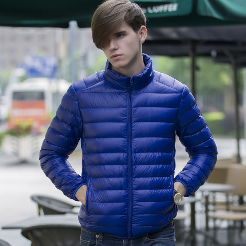 Men down thin short 2018 new winter white duck down coat male stand collar slim teenage boy plus size casual jacket