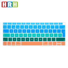 HRH Rainbow Spanish Silicone Keyboard Protective Film for Apple MacBook Air 13 A1932 with Touch ID Fingerprint 2018 Release