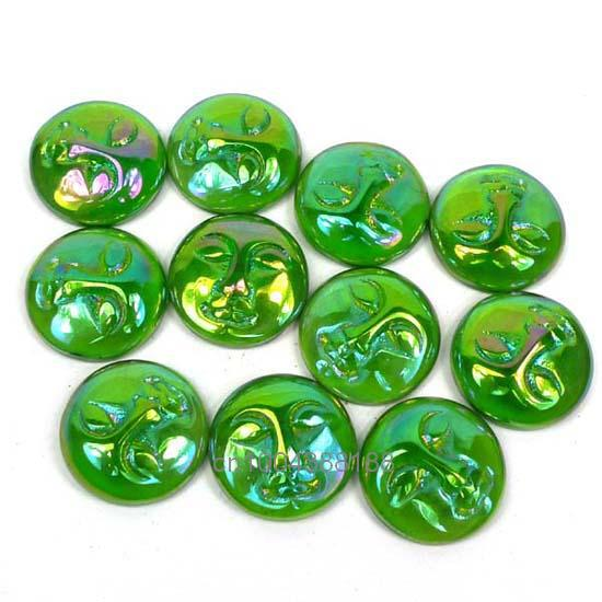 Free Shipping Aura Green Titanium Crystal Stones Goddess Face Created Cabochon Cab(4 Piece)