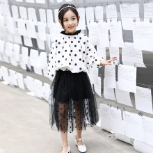 Fashion Children's Wear Girls'  Polka dot top Shirts + Cake Waist Skirt Two - Piece Sets Kids  Long Sleeve Blouse Skirts Suit cutout waist gold polka dot velvet top