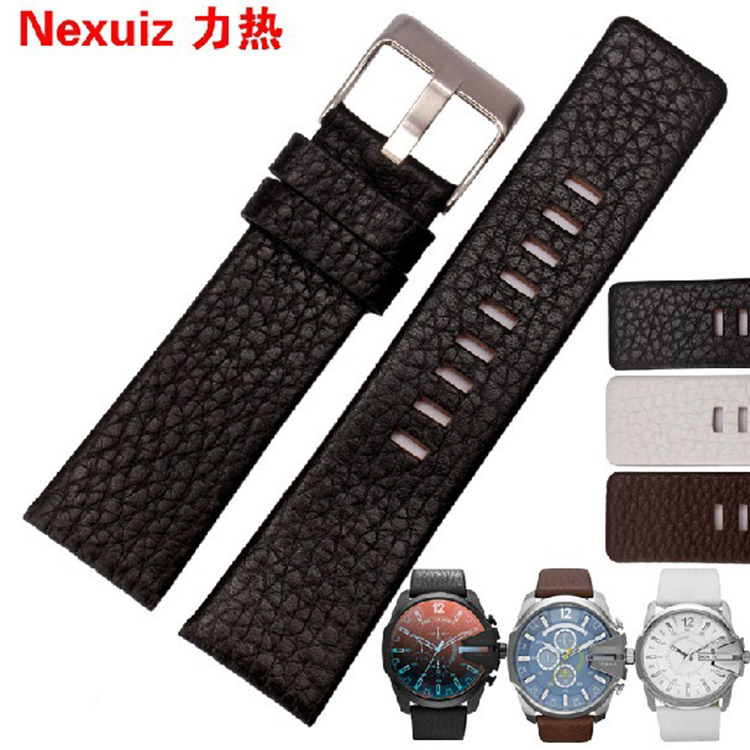 22mm 24mm 26mm 28mm 30mm Mens Watch Band Black Leather Strap Stainless Steel Buckle DZ1116 chrome rear door trunk lid cover trim for to prado land cruiser fj150 2014 2015
