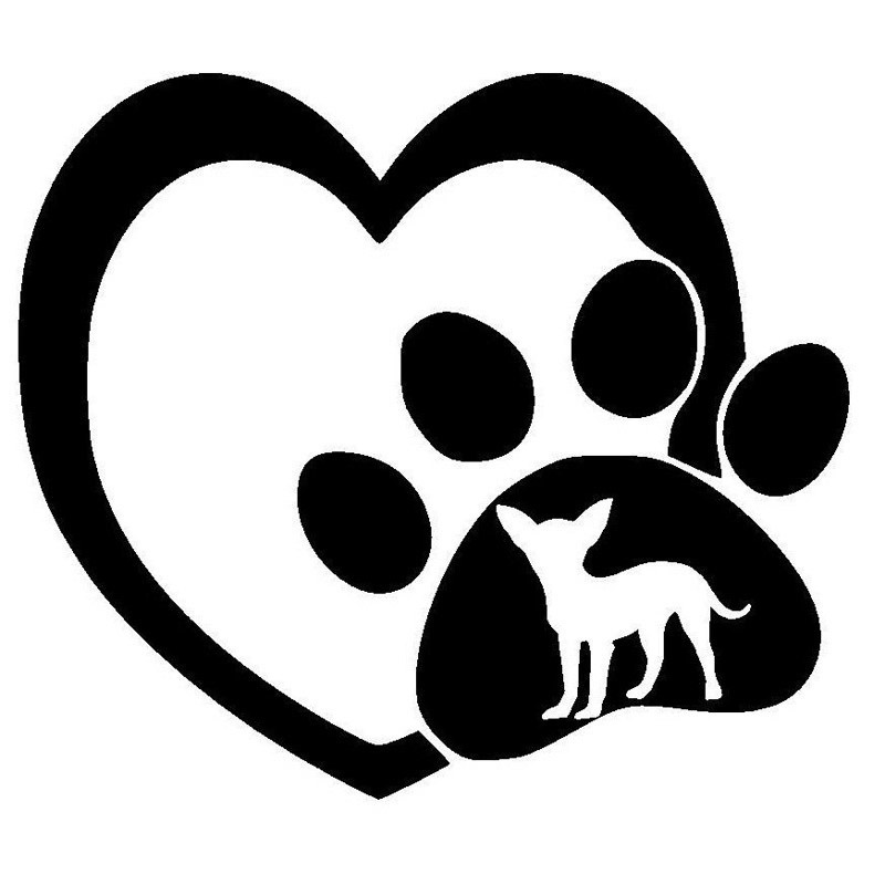 Download 14.5*12.7CM Chihuahua Love Heart Paw Print Vinyl Decal ...