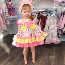 4 шт., летнее винтажное испанское желтое платье с воздушным шаром для маленьких девочек бальное платье принцессы с принтом платье для дня рождения в стиле Лолиты для девочек