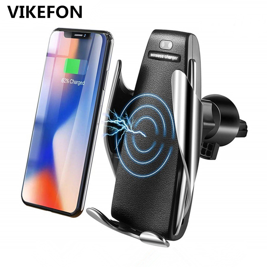 Car Qi Wireless Charger For iPhone XS Max X 10W Fast Wireless Charging for Samsung Galaxy S9 S10 Xiaomi Car Phone Holder Charger держатель для смартфона с функцией беспроводной зарядки