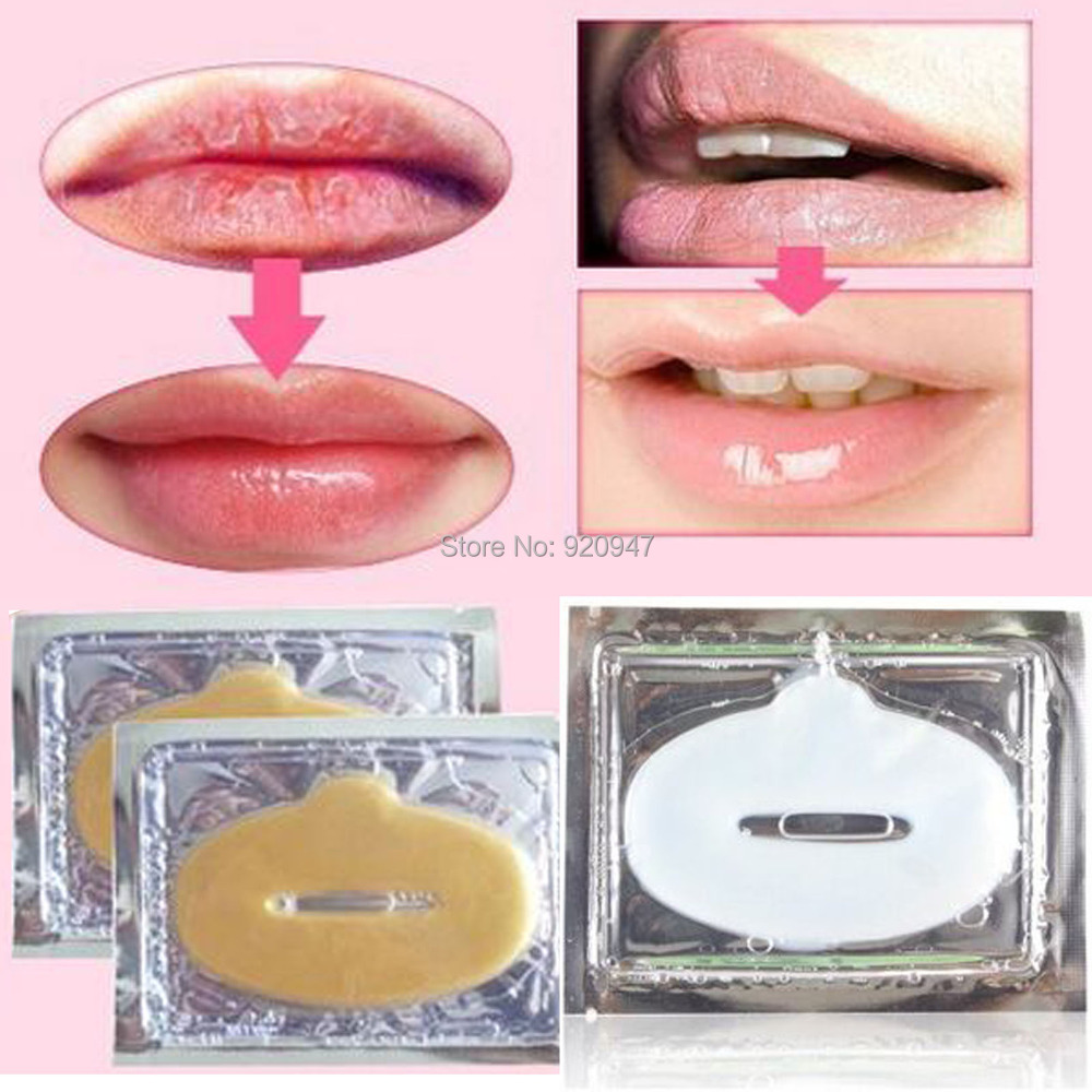 New Crystal Gold Powder Gel Collagen Lip Mask Masks Sheet Patch 10pcs China Mainland
