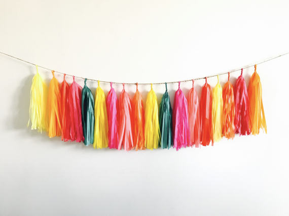Fiesta Tassel Garland of 40 tassels + free 13 feet( 4m)jute twine-Baby Shower Decor,Teal,Pink Mexican Southwest Wedding Decor