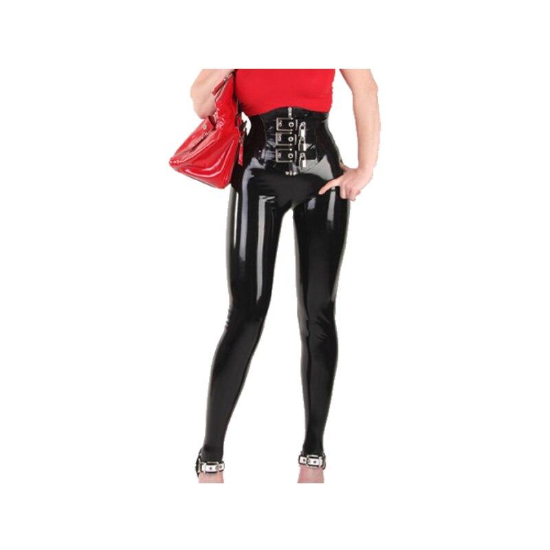 100% Latex pantalon femmes noir serré ajustement beau pantalon taille XXS-XXL