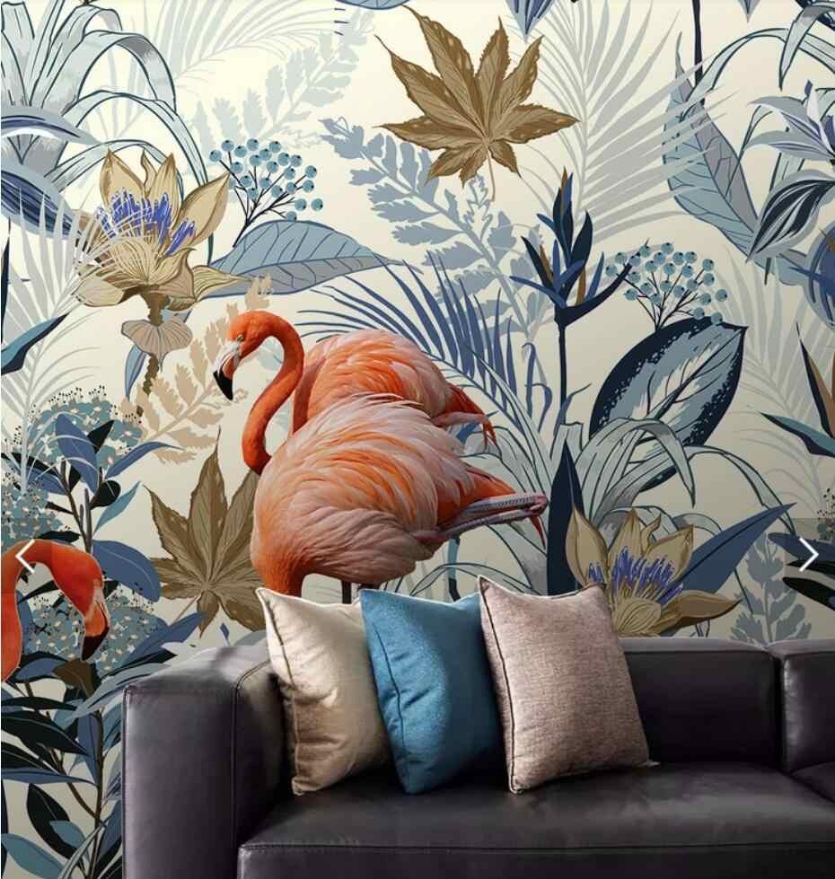 Papel pintado de flamenco Tropical nórdico para sala de estar dormitorio papel de Contacto HD 3D papel de pared rollo decoración del hogar personalizar