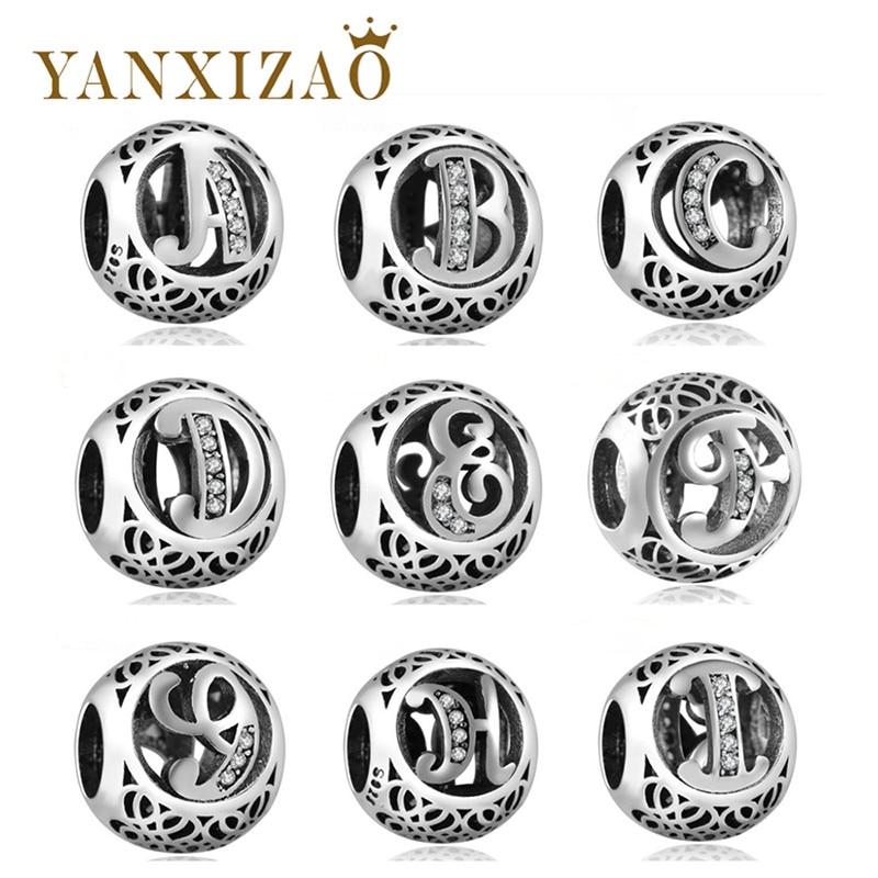 Yanxizao Moda 925 de Prata Europeu CZ Charme Beads Fit Pandora Estilo Feminino Pulseira Colar de Pingente de Jóias DIY Originais X17