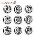 Yanxizao Fashion 925 Silver European CZ Charm Beads Fit Pandora Style Female Bracelet Pendant Necklace DIY Jewelry Originals X17