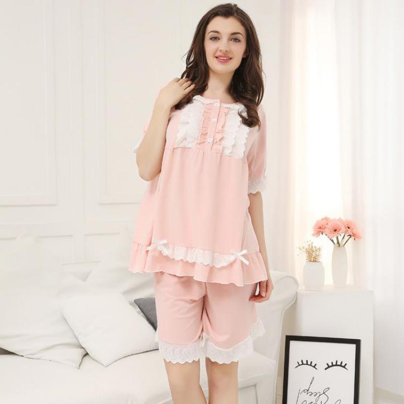 Oversize XL-3XL Women Short   Pajamas     Set   Large Size 2PCS Sleepwear Lace Trim Shirt&Shorts Nightwear Sleep Suit Cotton Home Wear