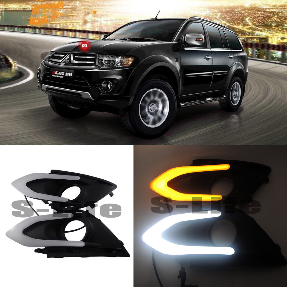 for Mitsubishi Pajero Sport Daytime Running Lights DRL Turn Singal Lamps 2015-2018 защита кпп автоброня 111 04047 1 mitsubishi l200 2015 mitsubishi pajero sport 2016 2 4d 3 0