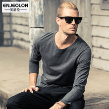 Enjeolon brand 2017 new casual top long sleeve t shirts man cotton solid base Clothing Tops Tee free shipping RST1709-1