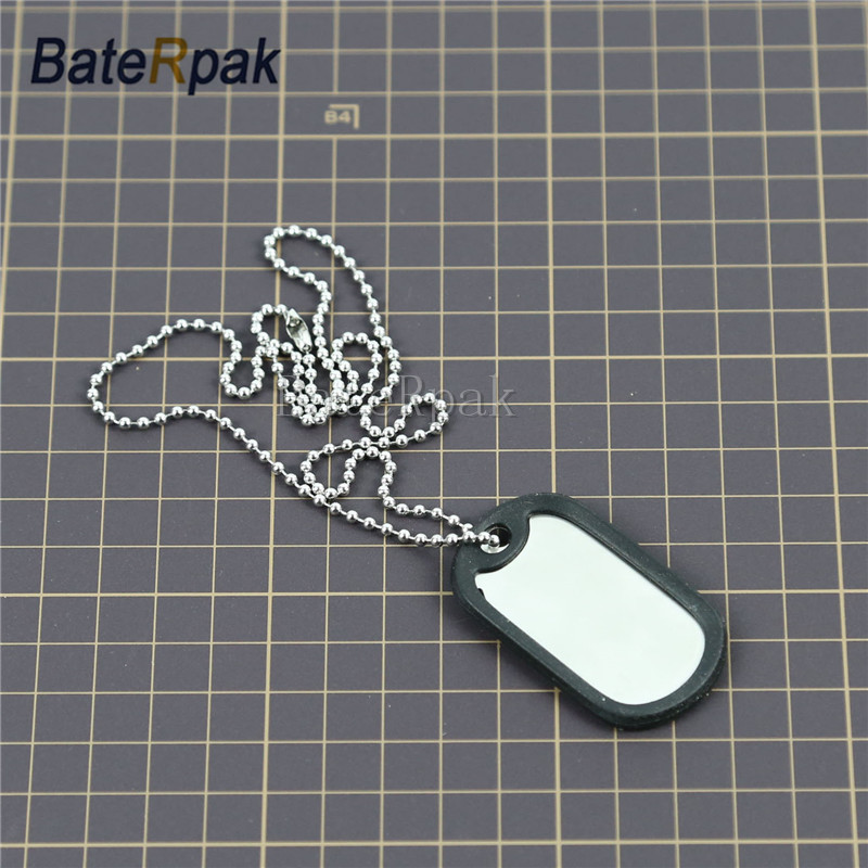 Military army Identity tag,BateRpak jewelry pendants & necklaces ,50.3*28.3*0.4mm Tag plate+Silencer ring+55cm chain 100pcs diasporic identity