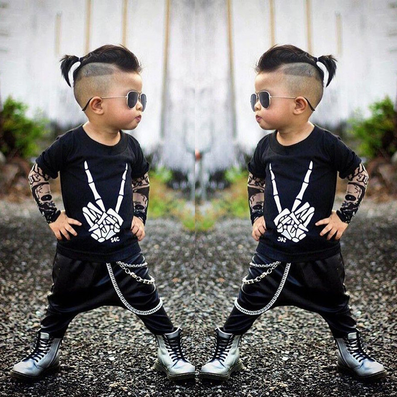 91eecd8208050 US $5.19 10% OFF|pudcoco 2017 Toddler 0 2T Baby Kids Boys Clothes set baby  punk style rock set Tops T shirt+chaparejos baby boy Outfits Set-in ...