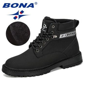 BONA 2019 New Designers Nubuck Leather Warm Men Boots Male Shoes Adult Snow Boots Mens Winter Footwear Outdoor Men  Comfortable