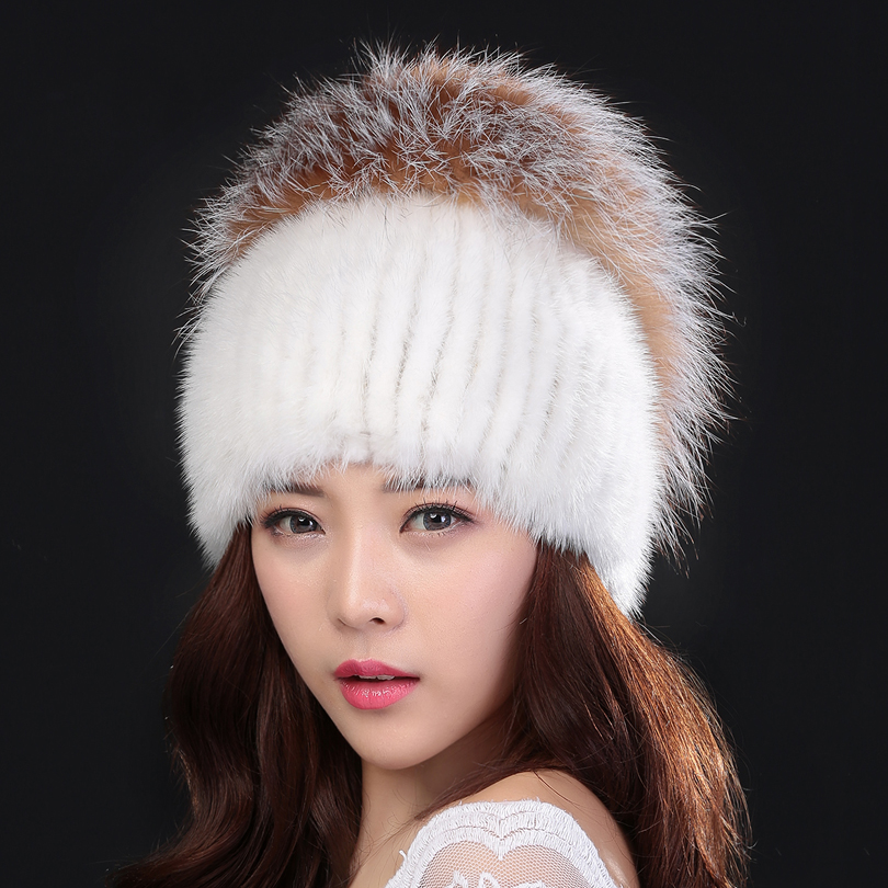 Hot Sale Mink Fur Beanies Cap With Fox Fur Pompoms For Women New Brand Thicken Female Cap Winter Knitted Real Mink Fur Hat high quality women printing coins change purse clutch zipper zero wallet phone key bags 8 color drop shipping wholesale 170215