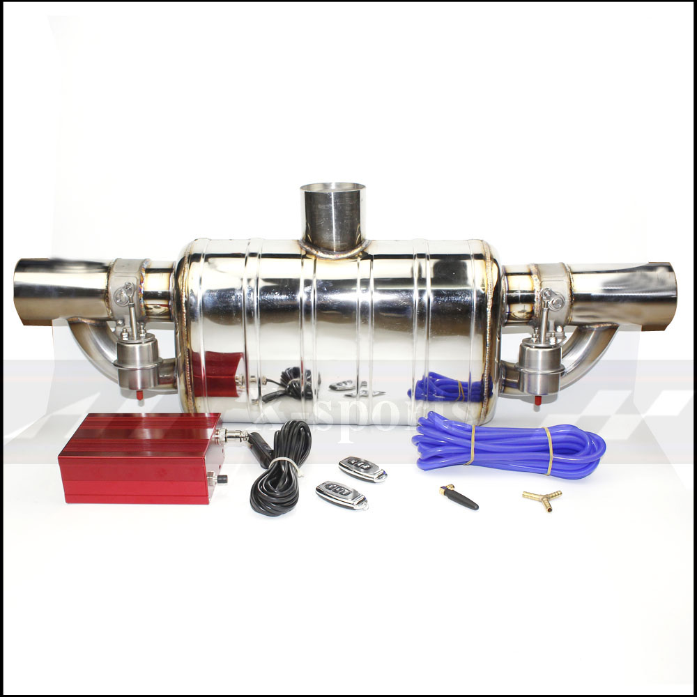 Car exhaust pipe Vacuum pump Variable Valve Mufflers Remote control Stainless steel Universal ID 51 63 76 mm T shape Weld edge