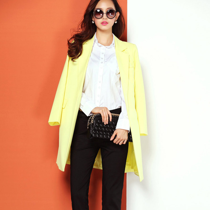 New spring and autumn women coat, notched collar sashed long suit blazers