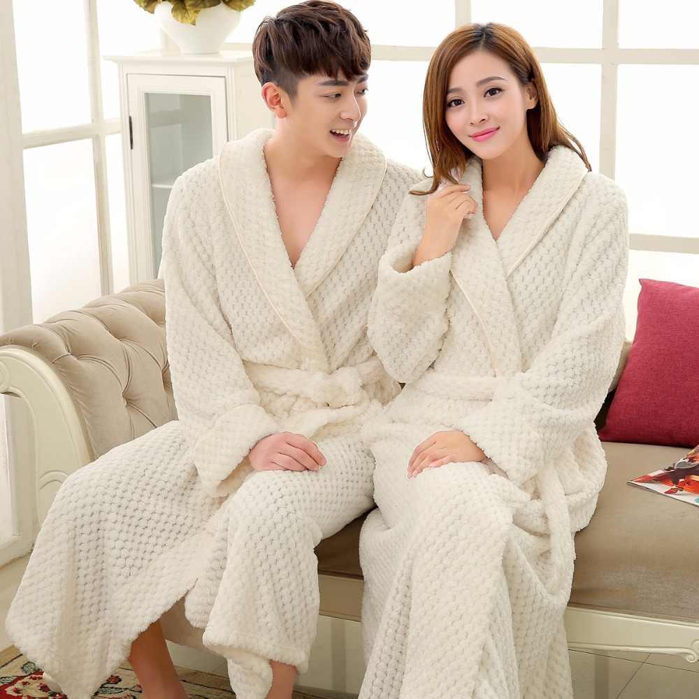 愛好家の高級ロングフランネル浴衣男性女性着物ワッフルバスローブ男性厚いパジャマメンズドレッシングガウンのため Badjas 男
