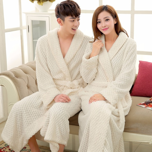 e26e19718f Lovers Luxury Long Flannel Bathrobe Men Women Kimono Waffle Bath Robe Male  Thick Sleepwear Mens Dressing Gown Badjas for Man