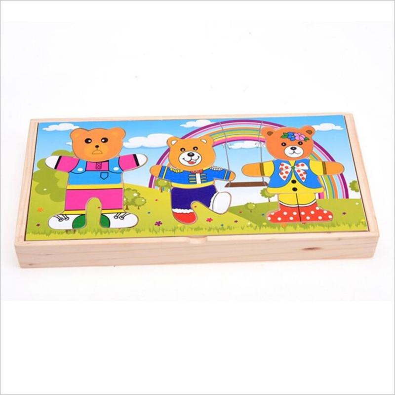 Kid's Zachte Montessori Beer Jurk-up Speelgoed Set Drie Beer Met Houten Doos Gemakkelijk Spelen Met Baby Vroege Educatief Speelgoed Verlichten Van Warmte En Dorst.