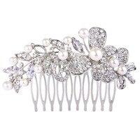 BELLA Moda Posrebrzane Butterfly Liści Wedding Włosów Grzebień Symulowane Białe Perły Akcesoria Do Włosów Dla Kobiet Biżuteria