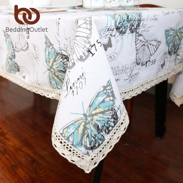 BeddingOutlet Butterfly Tablecloth Cotton Linen Dinner Table Cloth Insect  Macrame Decoration Lacy Table Cover Pastoral Fashion