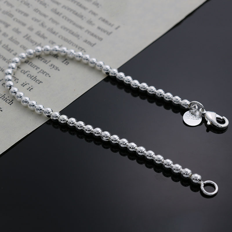 Beautiful fashion Elegant Gold color silver color 4MM beads chain women lady cute Bracelet high quality Gorgeous jewelry H198 3