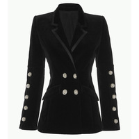 New European and American Women s Wear Jewelry Diamond Button Double row Button Received Waist Sleek Velvet Suit