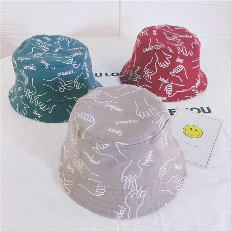Print Bucket cap Boys Girls Unisex Cotton Hat Bob Caps Hip Hop Cool Outdoor Sports Summer Kids Beach Sun Fishing Bucket Hats