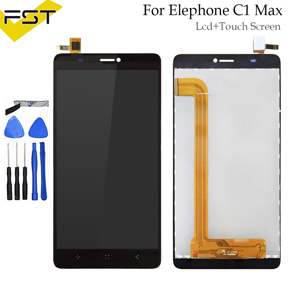 Black For Elephone C1 Max LCD Display and Touch Screen Assembly Screen Digitizer Replacement For C1 Max Mobile Accessories+Tools