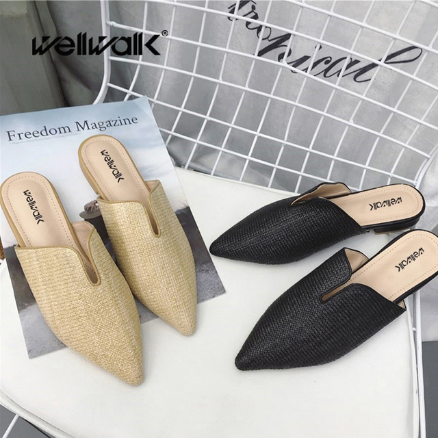 Mules Women Slippers Pointed Toe Shoes Ladies Mules Cane Weaving Women Slides Female Slippers Ladies Slider Shoes Women Spring